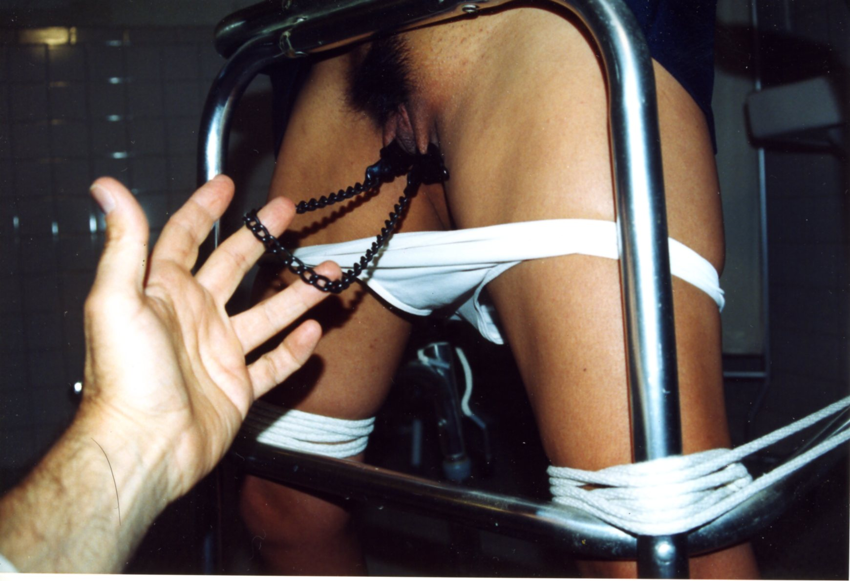 Cheryl Dynasty in pussy clamps